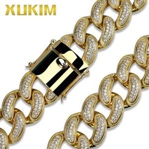 Image 3 - Xukim ювелирные изделия, большой размер 28 мм, блестящая золотая цепочка, кубинская цепочка, ожерелье Рок рэпер, ледяной хип хоп ювелирные изделия, вечерние подарки