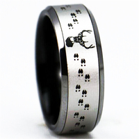 Deer Tracks Hunting Design Black Bevel Two Tone Color Tungsten Ring Comfort Fit Design His Or
