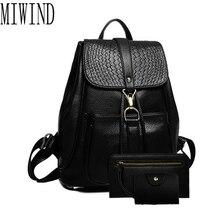 Frauen leder rucksack kleine minimalistischen solid black vintage pu leder mit weicher b für jugendliche mädchen feminine rucksack T341