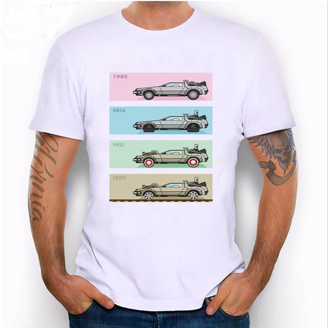 Lasting Charm Unique Harajuku Time Travel design mens shirts Back to the Future Delorean x 4 T-Shirt novelty casual male Tees