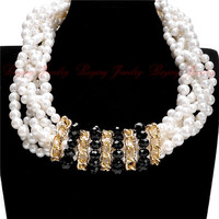 2015 5 Styles Women Short Design Accessories Chunky Chain Bib Resin Pearl Circle Crystal Statement Necklaces