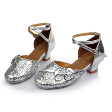New Latin Dance Shoes Low Heels Sequined Shoes Salsa Tango Ballroom Dancing Shoes For Women Kids