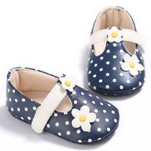Newborn Baby Girls Cute Flower Dot Shoes Soft Sole PU Leather Non-slip Crib Shoes