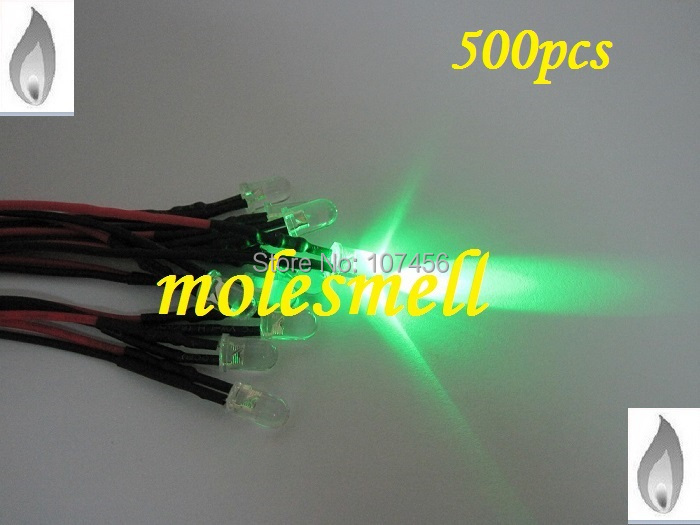 Free Shipping 500pcs 5mm Green Flicker 12V Pre-Wired Water Clear LED Leds Candle Green Light 20CM