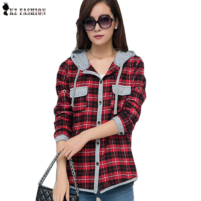 New Arrival  Autumn Cotton Long Sleeve Red Checked Plaid Shirt Women Hoodie Casual Blouse Plus Size XXL Sweatshirt C5N531