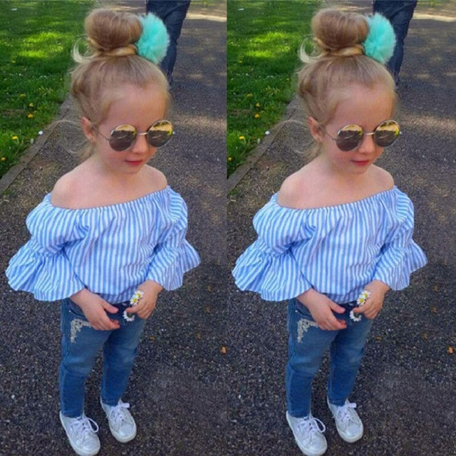 5e4f76564 2018 New Fashion Toddler Kid Girls Clothing Off Shoulder Tops Denim Pants  Jeans Outfits Baby Children Girl Clothes Set BB426