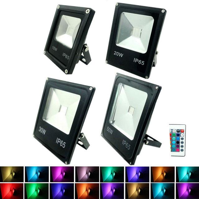 Holofote led rgb 1 peça, 10w 20w 30w 50w, iluminação para piscina, para áreas externas, ip65, 85 holofotes 265v + controle remoto para jardim