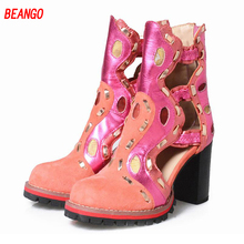BEANGO Hollow Out Boots Spring&Autumn Mixed Color Women Shoes Casual Round Toe Thick High Heel Genuine Leather Shoes Mujer