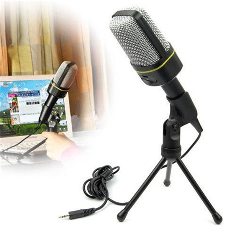 Cheap Computer Condenser Microphone Stand Studio Microphone 3.5mm Wired Clip Retro Mini Handheld Style Desktop Microphone For Pc