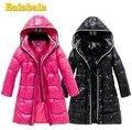 Calidad superior nuevo 2014 moda Balabala niñas abrigo de invierno para mujer abajo cubre la chaqueta medio largo y grueso medianamente grande abajo