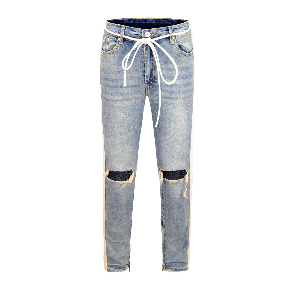 HIPFANDI 2018 KANYE FOG Knee Hole Side Zipper Slim Distressed Jeans Men Brand Bieber Ripped Jeans For Men White Stripe Pants