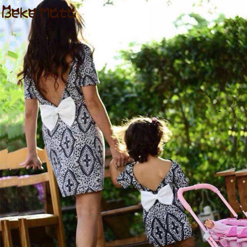 Mom Daughter Dresses V Back Bow Family Look Mother Daughter Short Sleeve Mommy And Me Clothes Print Family Matching Clothes Set