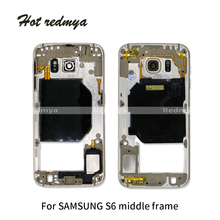 Middle Frame For Samsung Galaxy S6 G920 G920F Mid Bezel Rear Housing Chassis With Back Camera Glass Lens Cover
