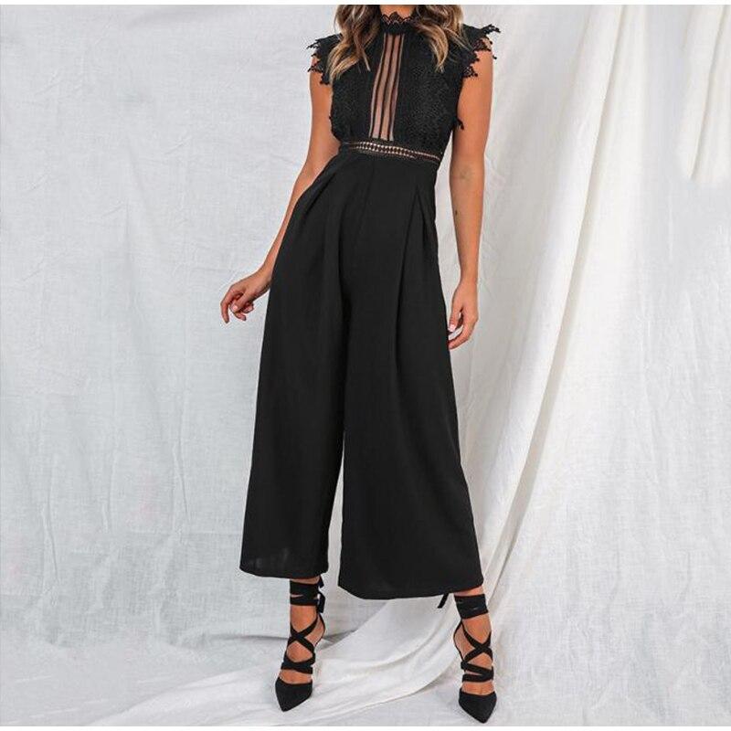 Black White Lace Hollow Out Wide Leg Jumpsuit 1