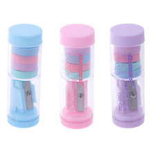 Pencil Sharpener Candy Color With 4pcs Erasers Kawaii Pencil Sharpener For Girls Gifts Back To School Supplies Korean Stationery(China)