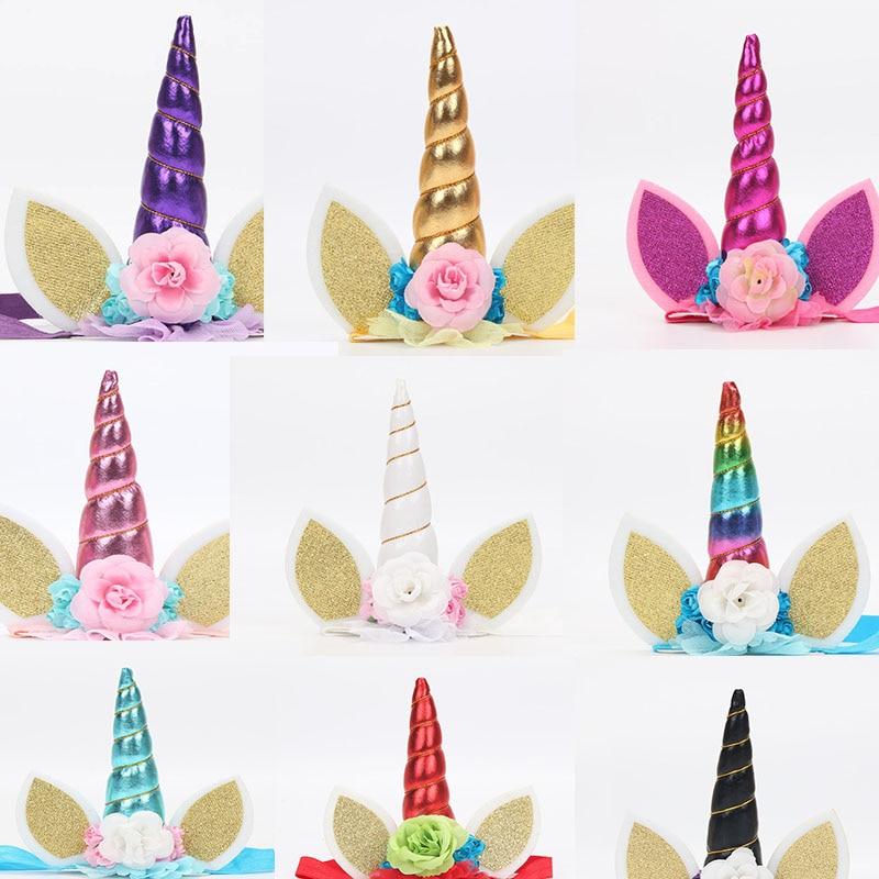 50pcs rainbow Unicorn Cake Toppers Unicorn Horn Ear Unicorn