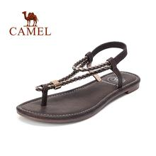 CAMEL Women's Flat Sandals T-Strap Low Heel Summer Thong Slingback Women Sandals Comfortable Walking Casual Shoes(China)