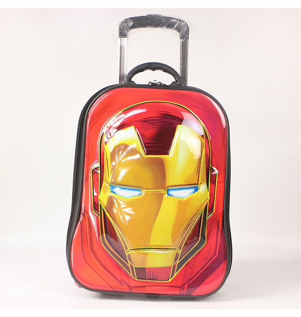 ec14ceda2d School Iron Man Trolley Case Maleta Boys Cartoon Print Suitcase On Wheels Kids  EVA