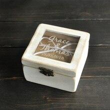 Пользовательские Кольцо Box, сельский Свадебные Кольца На Предъявителя, площадь Деревянный Держатель Кольца, персонализированные Свадебный Подарок Летие Подарок Настроить