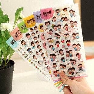 6 unids/lote corea papelería kawaii Amantes pegatinas etiqueta engomada DEL PVC de papel de oficina de la escuela pegatinas de envío gratuito 06427