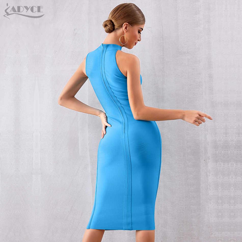 ADYCE 2019 новый летний Бандажное платье голубого цвета Для женщин сексуальная майка без рукавов облегающее Клубное платье, элегантное знаменитый вечерние платье Vestido