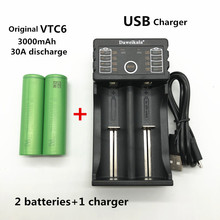 100% оригинал 18650 VTC6 3,7 В 3000 мАч 18650 аккумуляторная батарея для электронной сигареты 18650 VTC6 30A разряда + 1 шт. зарядное устройство