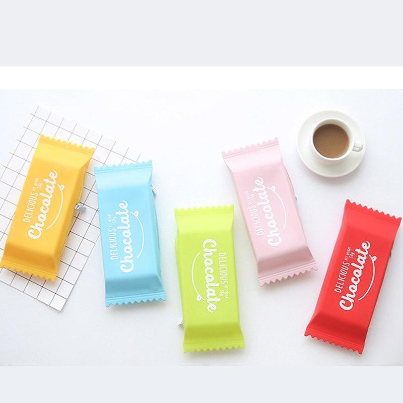 1 Pc kawaii Mignon De Bonbons Maison Silicone Crayon Cas Crayon Créatif boîte Étudiant Solide Couleur Crayon Sac Pour Enfants Scolaires Cadeau fournisseurs