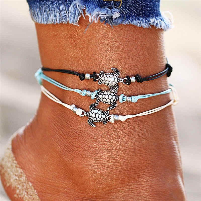 Bohemian สร้อยข้อมือสร้อยข้อมือ Vintage สำหรับผู้หญิงรูปเต่า Charm สร้อยข้อมือชายหาดขาเท้า Boho เครื่องประดับ Accesorios Mujer