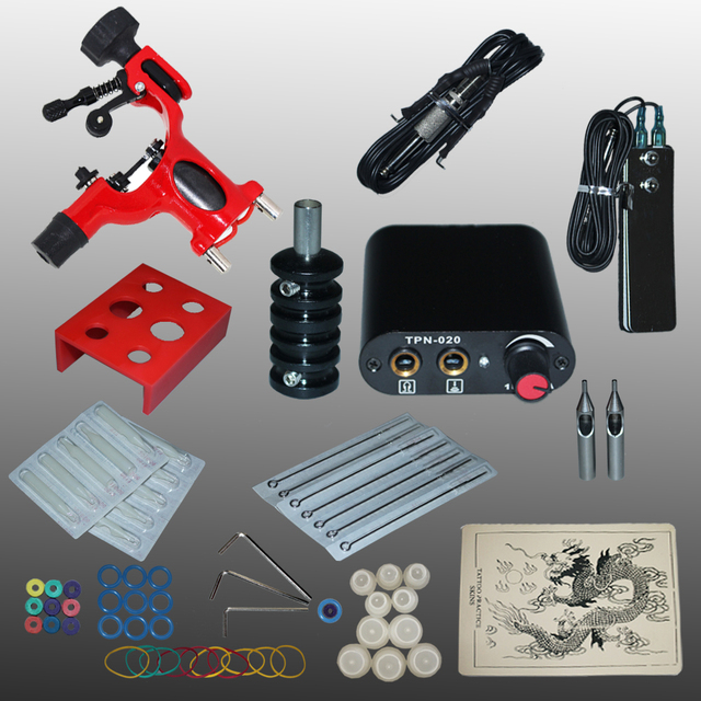 New Arrival 1 set Tattoo Kit Power Supply Gun Complete Set Equipment Machine Wholesale 1100657-2kitA