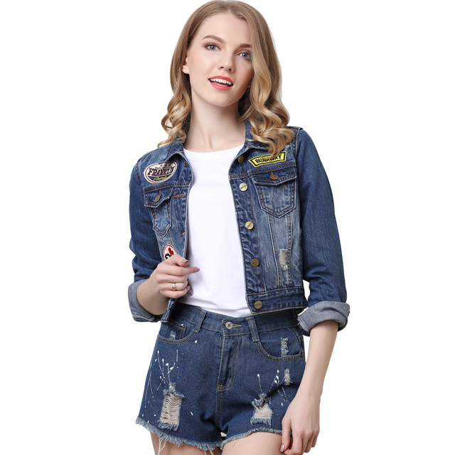 Women Autumn European Floral Embroidery Blue Denim Jacket Ladies Spliced  Jeans Coat Tops Woman Fashion Basic