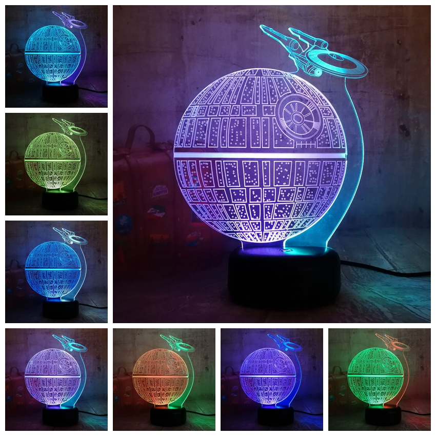 new style star wars death star lustre 3d led rgb 7 mixed dual color change night light lamp. Black Bedroom Furniture Sets. Home Design Ideas