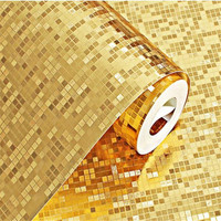 Glitter PVC Wallpapers Rolls Golden Silver Foil Bedroom Wallpaper Mirror Mosaic Sparkle 3D Wallpapers For Living