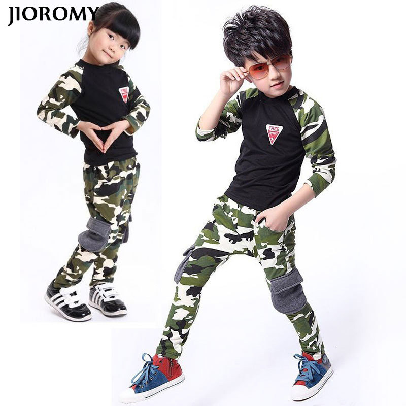 JIOROMY Big Boys Girls Clothes Suits 2017 Autumn Camouflage Long Sleeve Tops T-Shirt+ Pants Tracksuit Baby Clothing Kids Clothes