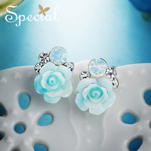 The SPECIAL New Fashion l white collar sterling 925 silver needle earring female ear nail against skin morning rose