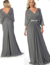 Gray Mother of the Bride font b Dresses b font Plus Size 2017 V Neck 3