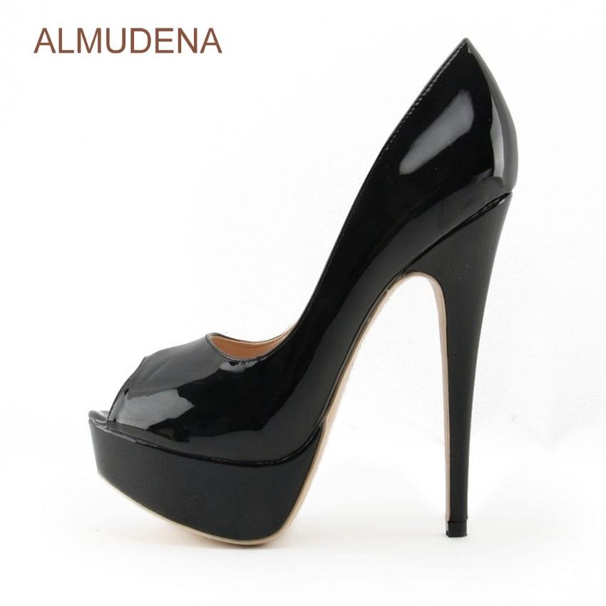 ALMUDENA Hot Selling Nude Black Patent Leather Pumps Stiletto Heels Platform Dress Shoes Peep Toe Banquet Shoes Dropship US10