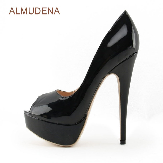 ALMUDENA Hot Selling Nude Black Patent Leather Pumps Stiletto Heels Platform Dress Shoes Peep Toe Banquet Shoes Dropship US10