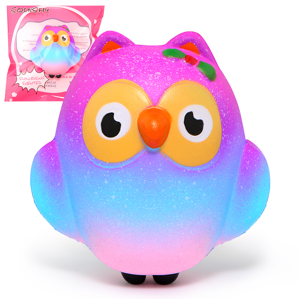 Galaxy Squishy Cute Owl Slow Rising Cream Scented Squeeze Toys Original Packaging
