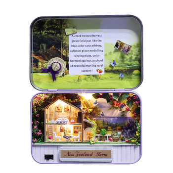 Box New Zealand Pastures Wooden Miniature Puzzle Toy DIY Doll House Furnitures T-007 фото