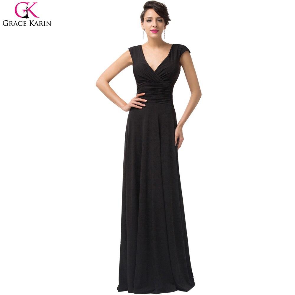 Long Evening Dresses 2017 Grace Karin Sleeveless V Neck Black Formal ...