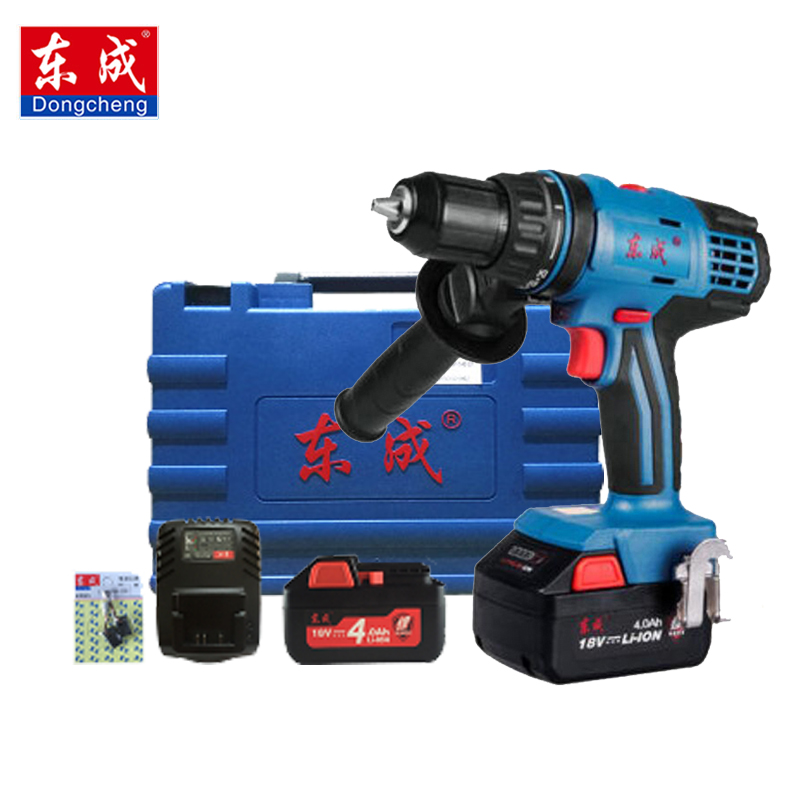 Dongcheng 18-Volt Max DC Lithium-Ion Battery 14mm 2-Speed Electric Cordless Drill Mini Screwdriver Impact Power Driver desoon de12dc 12v max electric screwdriver cordless drill mini wireless power driver dc lithium ion battery 3 8 inch 2 speed