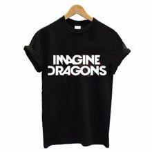 60ed73539 Marcas Ropa Imagine Dragons letra impresión mujeres amantes negro blanco  manga corta Camiseta verano moda Tops