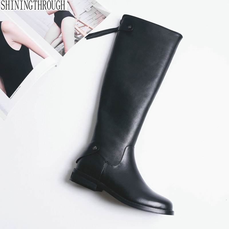 Women western Boots Cow Leather Ladies Low Heel Flat Knee High Boots black spring winter casual shoes woman size 33-42 alfani new black women s size small s mesh back high low ribbed blouse $59 259