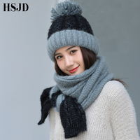 5dfb31f91eba3 Hat And Scarf Set 2019 Women S Winter Color Matching Knitted Hat Caps Wool  Warm Scarf. Chapeau et écharpe ensemble 2019 femmes ...