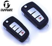 3 botones/4 botones de reemplazo Flip plegable remoto carcasa de la llave para Nissan Qashqai livina Sunny Sylphy Fob cubierta de la llave
