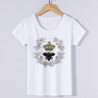 American Style New 2018 Summer Womens High Street Fashion Loose Beading Sequins Rhinestone T Shirt Tops Ladies White Shirts Tees