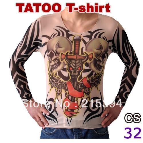 Vigorous patterned mens tattoo t shirt long sleeve tattoo for Patterned dress shirts for men