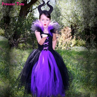 Maleficent Evil Queen Girls Tutu Dress Tulle Children Girls Party Carnival Halloween Dresses For Kids Witch