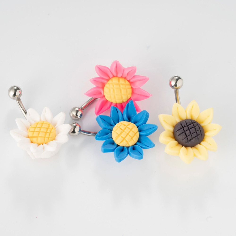 304 Stainless Steel Sunflower Belly Bar Navel Button Ring Crystal CZ Dangly