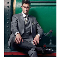 The latest men's suits high quality fashion three piece groom dress grey single breasted man suit (jacket+vest+pants)